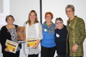 Left to right: award winners Agnes Lawler and Louise Ellis; judges Jean Willson, Pat Charlesworth and Irene Tuffrey-Wijne